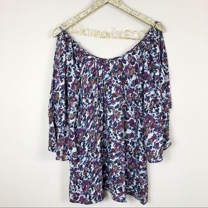Parker Purple Floral Cold Shoulder Silk Dress